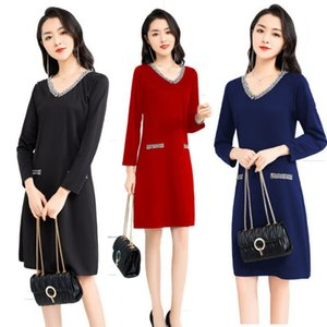 Dress suitable for fat people early autumn 2021 large women's dress cover meat fat mm age reduction cover hip foreign style T-shirt skirt