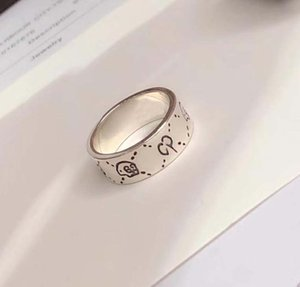 S925 silver skull style punk ring with stamp Fashion Lover Couple Simple Rings And Korean Students free shipping PS5425