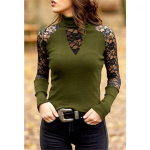Hollow Out Long Sleeve Womens Slim Tees Casual Females Clothing Lace Panelled Womens Designer Tshirts Sexy