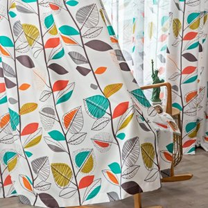 Curtain & Drapes American Colorful Garden Flower Plant Printing Leaf Insulation Shade Bedroom Curtains Cotton And Linen For Living Room
