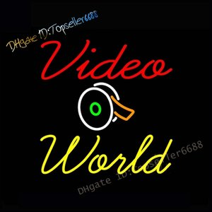 17x14 Inch Video World Live Recording Studio Video Room Dual Color Glass Neon Sign Yellow & Red
