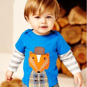 Little Bitty Kids T Shirt Long Sleeve Cartoon Animal Boys TShirts Spring Autumn Cute Fox Boy Girl T-shirt Tops Baby Clothes J0220