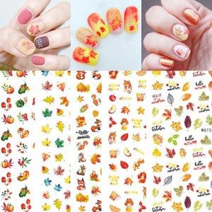 3D Thanksgiving Nails Stickers Autumn Fall Nail Art Accessories Decals Self-adhesive Maple Leaf Pumpkin Turkey Designs Sticker