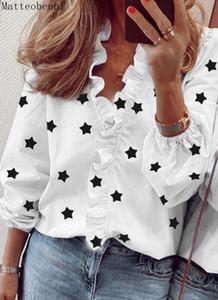 2021 Новая мода печать рубашки женщины белые блузки осень длинный рукав V шеи оборки рубашки элегантный офис блузка весна топ плюс размер 3T