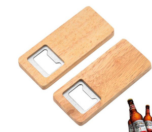 Wood Beer Bottle Opener Stainless Steel With Square Wooden Handle Openers Bar Kitchen Accessories Party Gift SN5156