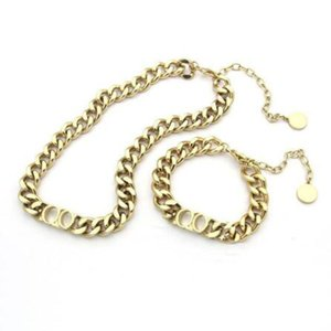 Fashion stainless steel letter 14k gold cuban link chain necklace choker bracelet for mens and women lovers gift hip hop jewelry HOT SELL