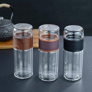 300ML 10 أوقية زجاج زجاجات المياه الشاي مقاومة للحرارة مزدوجة الجدران الزجاج كوب مياه الشاي مع الشاي infuser مصفاة OWA3877