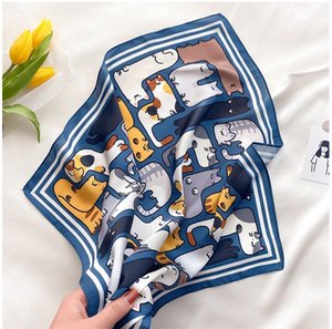 New Kerchief Women Printing Scarf Waiter Flight Faux Silk Vintage Wrap Hotel Hot Square Business scarves