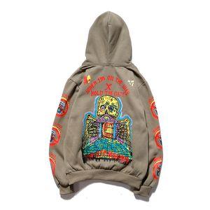 Kanye album Skull Palace Hoodie Coat Hip Hop Graffiti Plush Hoodie para hombres y mujeres