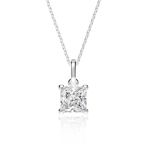 HBP fashion luxury jewelry new simple American high carbon diamond 6 * 6mm Princess square four claw set 925 Sterling Silver Pendant