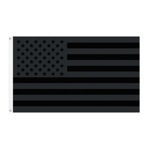 90*150cm double-thread curling American Stars and Stripes all black American flag