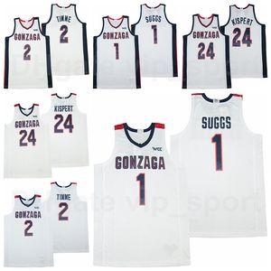 NCAA GONZAGA Bulldogs Koleji Basketbol 2 Drew Timme Jersey Üniversitesi 24 Corey Kispert 1 Jalen Solunabilir Takım Uzakta Beyaz Renk