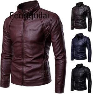 PU Ceket FengGuilai Erkekler Yeni Erkek Stand-Up Yaka Kürk Fermuar Metal Düğmeleri Dekoratif Tipo Deri