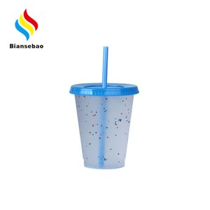 Customized 16Oz Plastic Sippy Cup Cold-Changing Color Chips Short Cup Pp Temperature-Sensitive Color-Changing Plastic Sippy Cup Manufacturer