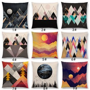 New Sunrise And Moon Dreamy Peaks Colorful Mountains Abstract Triangles Geometric Pattern Cushion Cover Sofa Throw Pillow Case