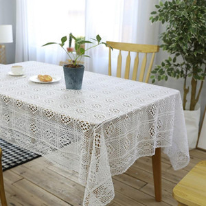 Beige table cloths handmade crocheted hollow decorative weddings party tablecloths cotton rectangular dinning table cover