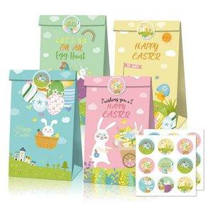 Sacchetto di carta marrone di Pasqua Cartoon Uova di Pasqua Coniglio stampato Borse ambientali Borse di stoccaggio di vacanza Borse 12 pezzi WY1212