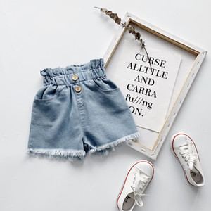 INS Fashion kids girls denim hot shorts summer new girls ruffle high waist jean shorts children hole tassel casual cowboy short pants