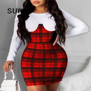 White Red Plaid Printed Sheath Mini Dresses For Women Sexy Club Outfits Long Sleeve Evening Party And Wedding Robe Streetwear