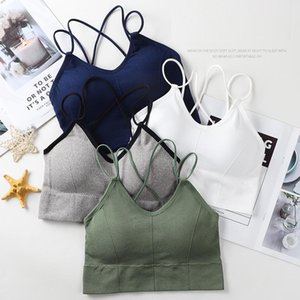Camisoles & Tanks U-shaped Back Sports Bra Tube Top Women Crop Solid Color Sexy Strap Lingerie Running FitnessTop