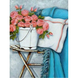 Paintings DIY Oil Picture By Numbers 40x50 Framed Flower On Chair Paint Kits Hand Made Unique Gift For Adults Children Home Decoration Gif