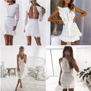 Kadınlar Oymak Beyaz Dantel Elbise 2021 Bahar O-Boyun Uzun Kollu Backless Seksi Bodycon Kılıf Abiye Bayan Parti Elbise Yaz Sonbahar