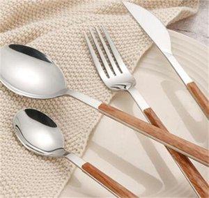 مجموعة أدوات السكاكين الفولاذ المقاوم للصدأ مع مقبض خشبي صديقة للبيئة أدوات المائدة الغربية مجموعات ملعقة سكين شوكة عالية الجودة أدوات المائدة 16 V2