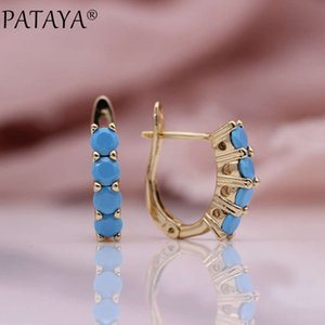 Rose gold four wheel blue natural Zircon Pendant Earrings for women's fashion wedding lovely jewelry