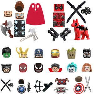 Different Movie Figure Blocks Helmet Shield Armor Accessories Figures Building Size about 4.5cm For kids Toys Gift