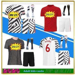 POGBA 6 camisa de futebol masculino meia criança + kit 2020 2021 CANTONA 7 BRUNO FERNANDES SANCHO RASHFORD JAMES camisa de futebol de camisa de futebol