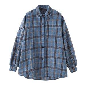 Kadın Bahar Sokak Bluz Gömlek Vintage Büyük Boy Ekose Flanel Erkek Arkadaşı Tunik Gömlek Kadınlar için Rahat Kore Tops