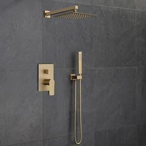 Badezimmer Dusche Wasserhahn Set Total Messing In-Wall Dusche Wasserhahn Warmes und kaltes Bad Mixer Tap gebürstet Gold Mattes Bidet