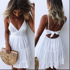 Sexy Lace Summer Dress Women Strap Bow Casual White Dress Female Streetwear Backless Midi Dress Vestidos Ropa Mujer
