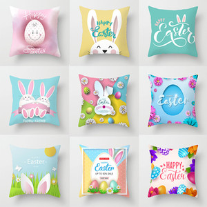 Happy Easter Pillowcase Easter Bunny Egg Decorative Cushion Cover Cartoon Rabbit Print Pillow Cover For Sofa Car Home Decor 45*45cm GWA3588