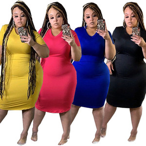 large casual cheap plus size dresses for women 2021 spring summer new V-neck large dress 5 colors clothing