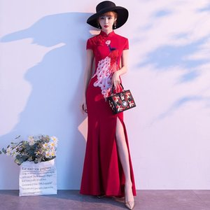 Ethnic Clothing Floral Satin Female Slim Qipao Sexy Red Chinese Wedding Prom Dress Gown Large Size Short Sleeve Cheongsams Vintage Long Vest
