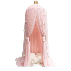 Bed 7 Colors Hanging Dome Bedding Canopy Cotton Mosquito Net Bedcover Curtain for Baby Kids Reading Playing Home Decor