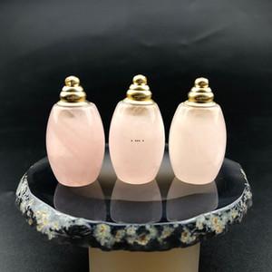 Pedra cor-de-rosa natural frasco de perfume pingentes encantos gota de pedra de pedra essencial difusor difuser garrafa pingente colar jóias presente mar navio hwb5288