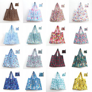 Foldable Shopping Bag Thick Large Tote ECO Reusable Waterproof Oxford Cloth Reusable Fruit Grocery Pouch Floral Pattern