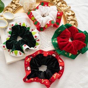 Christmas Scrunchies Hairbands Velvet Hair Ties Ropes Xmas Ribbon Hair Bands Ponytail Holder Festival Gift Girls Hair Accessories 3261 Q2