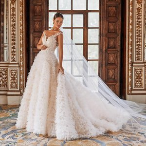 Other Wedding Dresses Sexy Ball Gown Dress 2021 Luxury Beading Crystal Lace Tulle Trered White Bridal Vestige De Noiva