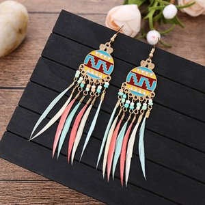 10pairs Lot Ethnic Style Long Rice Bead Earrings Round Drop Feather Ear Hook Women Geometric Tassel Colorful Dangle Jewelry Accessories
