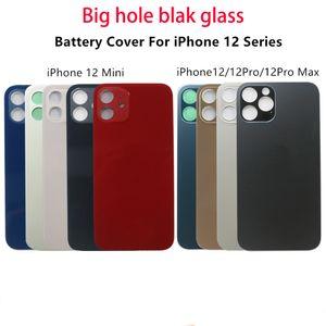 Vidrio trasero de 50 unids con carcasa de agujero grande para iPhone 11 12 Pro Max SE Tapa de la batería de la cubierta de la puerta trasera Reemplazo