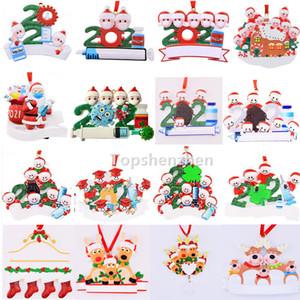 17 стиль модернизирован 2021 рождественские украшения украшения карантин выжившие смола орнамент творческие игрушки дерево декор для маски снеговик ручной дезинфицируют семейство DIY имя
