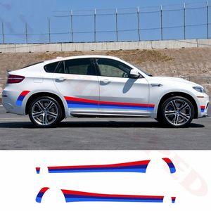 For- BMW E70 E71 F15 F15 F25 F26 TRICOLOR SPORT STRIPTES PORTA DO CARRO ESCOLHA DE VINYL Decalque Auto Body Body Acessórios