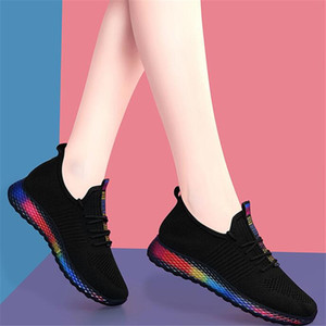 2021 hot Woman sports shoes Light bottom comfortable mesh breathable sneakers Fashion with colorful soles women flat shoes 35-40