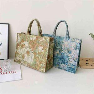Oil painting printing womens Tote bag Summer gentle Blue handbag Large capacity rectangular women's shoulder bags beautiful pocket