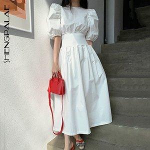 Shengpallae estilo chique estilo elegante vestido feminino o pescoço sopro de manga curta alta cintura túnica midi vestidos 2021 novo verão za384 210306