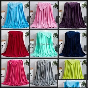 Textiles Home & Gardensolid Color Pet Coral Fleece Subgift Air Conditioning Blankets Customized Flange Yoga Blanket Winter Drop Delivery 202