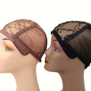 Nueva tapa de peluca para fabricar pelucas con correa ajustable en la tapa de tejido trasera con gorras de peluca sin glanas de buena calidad Negro de red